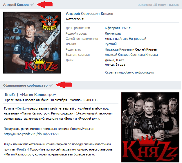 Верификация Вконтакте галочка