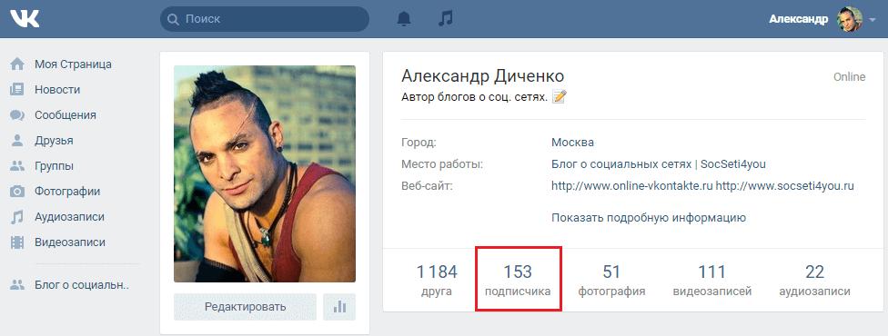 Подписчики страницы Вконтакте
