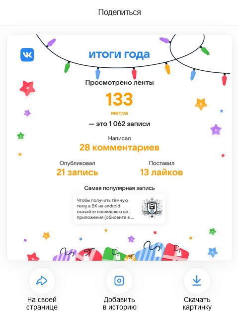 Итоги В Контакте