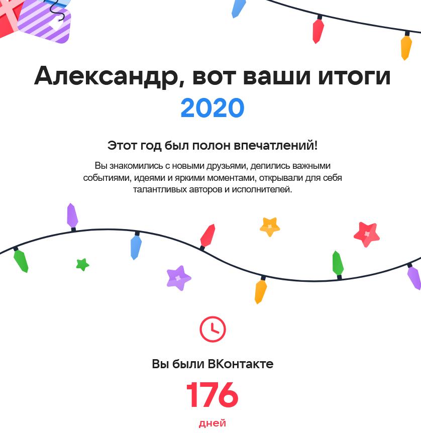 Итоги года Вконтакте 2020