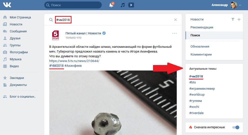 Актуальные темы Вконтакте